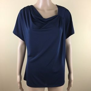 Jones wear large blue Asymmetrical Neckline blouse